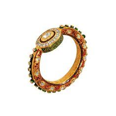 Majestic Bangle with brilliant Polki diamonds India Jewelry, Gems Jewelry, Wedding Jewelry, Jewelery, Lotus Jewelry, Diamond Jewelry, Gold Bangles Design, Jewelry Design, Stylish Jewelry