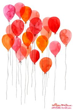 balloon watercolor.                                                       …                                                                                                                                                                                 Más