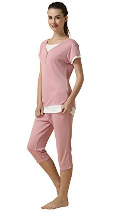 6a584b122a244 Suntasty Women's Summer Pajamas Cotton Sleepwear T-Shirt and Capri Sets  (Pink,S