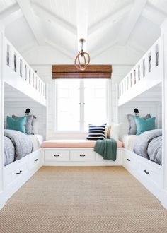 The homeowners wanted a fun retreat to house all their grandkids, and four built-in bunk beds proved the perfect solution. Built in bunk beds. Home decor and decorating ideas. Bunk Beds Built In, Home, Lakehouse Bedroom, House, Bedroom Design, New Homes, Home Bedroom, Bed Design, Built In Bunks