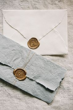 Flatlay Inspiration · via Custom Scene · gold wax stamps on handmade paper and envelope. Wedding Paper, Wedding Cards, Wedding Day, Trendy Wedding, Elegant Wedding, Wedding Castle, Luxury Wedding, Diy Wedding, Invitation Design