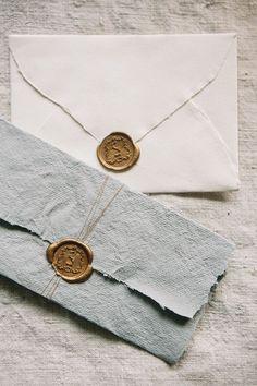 Flatlay Inspiration · via Custom Scene · gold wax stamps on handmade paper and envelope. Wedding Paper, Wedding Cards, Wedding Day, Trendy Wedding, Elegant Wedding, Luxury Wedding, Diy Wedding, Invitation Design, Invitation Cards