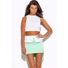 Mint green color block high low peplum scuba pencil mini skirt ($7) ❤ liked on Polyvore featuring skirts, mini skirts, green, pencil skirts, green mini skirt, high low skirt, green skirt and short mini skirts