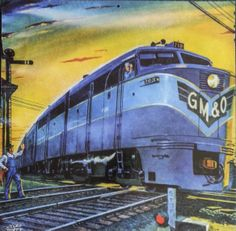 """""""On Time on the Alton"""" by Herb Mott - Cover illustration for Railroad Magazine, May 1952, Vol. 57, No. 4"""