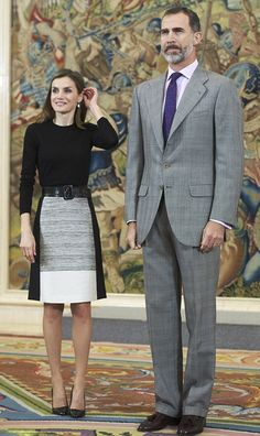 King Felipe and Queen Letizia of Spain looked perfectly coordinated as they welcome guests at their Madrid palace on November 18, 2016