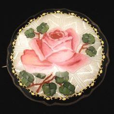Rose Pin Vintage Sterling Silver Enamel Sortland Bilforr Norway