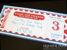 Delightful Order: Train Birthday Party Ideas - Train ticket invitations. I also love the paper engineer hats.