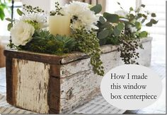 After my lastdining room post I got a lot of questions about my centerpiece.  I had been so excited when I stumbled on this old window box and I immediately filled it up with some pretty flowers and c