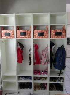Ikea billy bookcase mud room or entry organization #organize #shoes