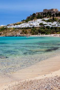 Lindos Beach, Rhodes, Greece- less than 2 months and I'll be there ☀️☀️ Places Around The World, Oh The Places You'll Go, Places To Travel, Places To Visit, Around The Worlds, Greek Islands To Visit, Best Greek Islands, Rhodes Island Greece, Greece Islands