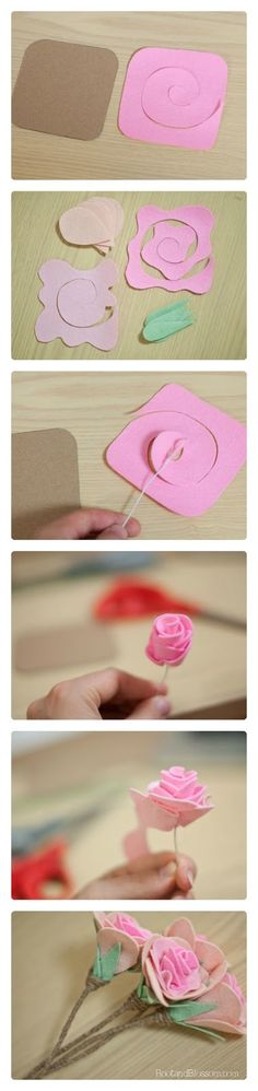 MiiMii - crafts for mom and daughter.: All about making flowers out of felt - patterns, templates and inspiration. Felt Diy, Felt Crafts, Fabric Crafts, Handmade Flowers, Diy Flowers, Paper Flowers, Rolled Fabric Flowers, Craft Projects, Sewing Projects