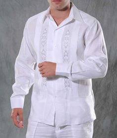 MENS WEDDING GUALLAVERAS   Guayaberas Cubanas White & Silver Gray Shirt. Best Linen Guayabera.