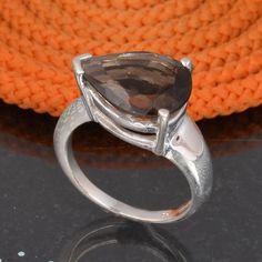 925 SOLID STERLING SILVER DESIGNER SMOKEY CUT RING 6.20g DJR6102 #Handmade #Ring