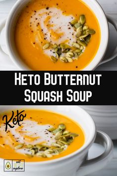 Enjoy the fall flavors of butternut while sticking to your low-carb and keto diet, with this delociosu and comforting Keto Butternut Squash Soup. Soup Recipes, Diet Recipes, Healthy Recipes, Cake Recipes, Dessert Recipes, Protein Recipes, Lunch Recipes, Recipies, Low Carb Dinner Recipes