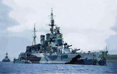 Battlecruiser HMS Renown (72) in camouflage pattern. At left, a US battleship escorting her.