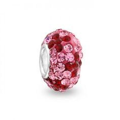 925, Swarovski Crystal Dark Red and Pink Flower Bead Chamilia Compatible