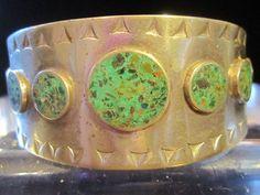 Cuff Bracelet Turquoise Circles Silver Vintage Southwestern Tribal