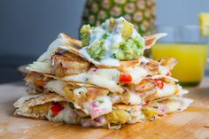 Jerk Shrimp and Pineapple Salsa Quesadillas with Pina Colada Guacamole!!