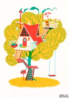 Autumn house screen print.