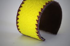 loom woven yellow seed bead and leather cuff by TaraBarros on Etsy, $63.00