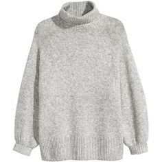 H&M+ Knit Turtleneck Sweater $34.99 ($35) via Polyvore featuring tops, sweaters, raglan sweater, ribbed knit turtleneck, knit turtleneck sweater, knit top and ribbed sweater