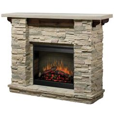 This Stone Electric Fireplace Captures the Rustic Feel of a Ski Lodge Mantel