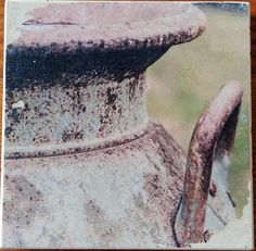 Brown Vintage Milk Jug 2 Fine Art Photograph Manually Transferred to Travertine Stone Tile, Coaster Cork Backing to Protect your table Custom Coasters, Milk Jug, Stone Tiles, Travertine, Wall Spaces, Decorating Your Home, Vintage Items, Great Gifts, Fine Art