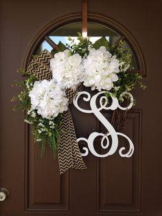 Everyday White Hydrangea Wreath with Initial - Spring Wreath - Monogrammed Wreath - Summer Wreath - Housewarming Gift - All Season Decor