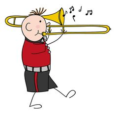 Drawing of a little boy playing the trombone Trombone, Cecile, Boys Playing, Little Boys, Army, Snoopy, Band, Drawings, Artwork
