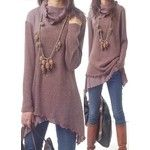Rotita Patchwork Design Cowl Neck Long Sleeve Blouse
