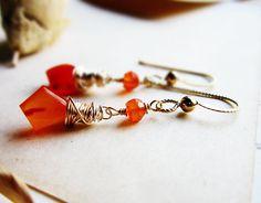 Orange Carnelian Gold Earrings Tilak Stones by thelittlehappygoose,