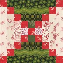 Chimneys and Cornerstones quilt block mentioned in A Quilter's Holiday from the Elm Creek Quilt series by Jennifer Chiaverini