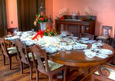 The formal dining room at Providence House.  Located in Casey Jones Village in Jackson, Tennessee.  Photo by Paul Jackson.