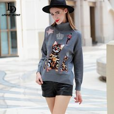 Women's Winter Turtleneck Pullovers Noveity Character Cat Pattern Embroidery knitwear Sweater $73.25   => Save up to 60% and Free Shipping => Order Now! #fashion #woman #shop #diy  http://www.clothesdeals.net/product/ld-linda-della-womens-new-winter-turtleneck-pullovers-noveity-character-cat-pattern-embroidery-knitwear-sweater-high-quality