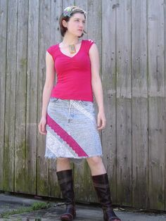 Recycled Denim Skirt with Sharpie marker Graffiti & Lace
