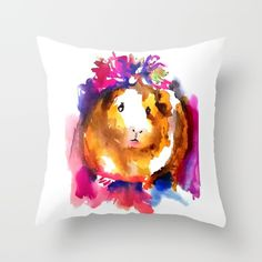 Guinea Pig in Flower Crown - $20 #guineapigs #pets #homedecor #pets #nursery #cuteanimals #ponyopigletofthesea #guineapigart #decor