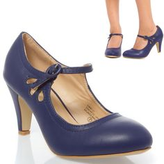 Sale Blue Mary Jane Flower Cut Out Platform Med Heel Stiletto Pump Shoe US 9 #ChaseChloe #MaryJanes