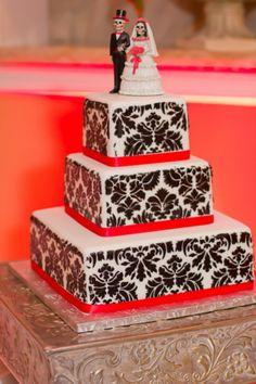 black and white demask wedding cake dia de los muertos cake topper.