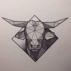Superb dotwork geometric-style bull head on rhombus . Taurus Bull Tattoos, Bull Skull Tattoos, Zodiac Tattoos, Skull Tattoo Design, Head Tattoos, Time Tattoos, Cow Skull Art, Taurus Art, Modern Art Tattoos