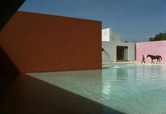 Rene Burri MEXICO. Mexico-City. San Cristobal. Stable, horse pool and house (1967-68) planned by Luis BARRAGAN and Andres CASILLAS. 1976.
