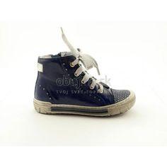 Štýlové kožené lakované pohodlné modré detské topánky Emel