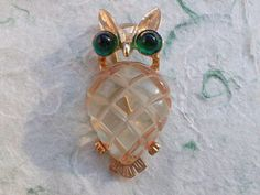 Vintage Signed CORO Carved Jelly Belly Owl Brooch figural AB939 #Coro