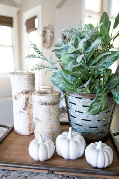 Fall Decor Ideas - From the family room to the farm table centerpiece, I'm sharing simple ideas for DIY fall decorating that will add a seasonal touch to your modern farmhouse. Contemporary Home Decor, Modern Decor, Contemporary Apartment, Banquet Centerpieces, Table Decorations, Autumn Decorating, Decorating Ideas, Fall Table, Decorating Coffee Tables
