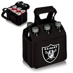When carrying a 6-Pack, the Oakland Raiders Six Pack Cooler is the perfect way to get them to your final destination. The Oakland Raiders Six Pack is a beverage carrier that fits most water, beer, and