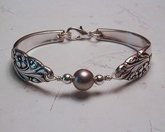 Spoon Bracelet Recycled Silverware Jewelry Swarovski Pearl Sterling Beads Evening Star Made to Order. $29.00, via Etsy.