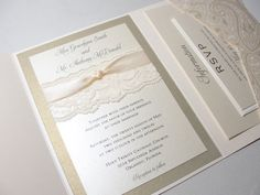 Lace Pocket Wedding Invitations | Lace Wrapped Wedding Reception Invitations, Wedding Invites, Wedding ...