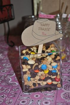 Happy trails mix... a healthier alternative for a cowboy themed party. I like the cowboy hat labels.