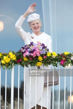 Queen Margrethe II of Denmark attends a Lunch reception to mark the forthcoming 75th Birthday of...