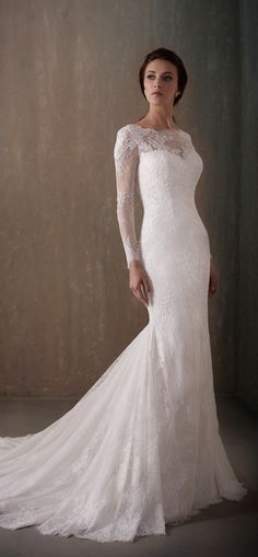Adrianna Papell | Backless Long Sleeve Chantilly Lace Wedding Dress with Illusion Neckline - 31014