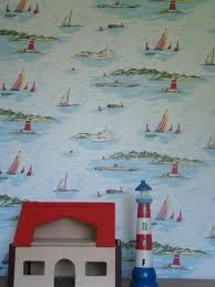 Love this wallpaper but I don't think Cath Kidston make it anymore - sad times Painted Bedroom Furniture, Wood Bedroom, Boat Wallpaper, Bedroom Wallpaper, Purple Kids Rooms, Cath Kidston Wallpaper, Best Bedroom Colors, Belle And Boo, Hippy Room